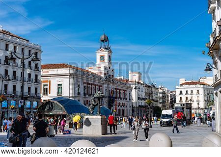 Madrid, Spain - May 8, 2021: Scenic View Of Puerta Del Sol Square With People During Coronavirus Cov