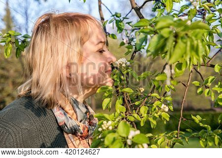 Portrait In Profile Of Middle-aged Blonde Woman, A Woman Sniffing The White Flowers Of A Blooming Ap