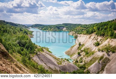 Volkovysk Chalk Pits Or Belarusian Maldives, Beautiful Saturated Blue Lakes. Famous Chalk Quarries N