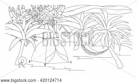 Coloring Book With Camping In The Rainforest By The Sea. Illustration With A Tent, Hammock, Chaise L