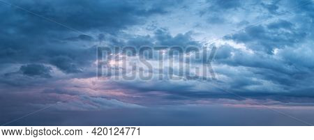 Dramatic Overcast Sky At Evening Panoramic Shot. Scenic Blue Gray Clouds Before The Storm. Scenic Cl