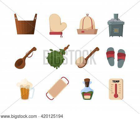 Wooden Sauna. Luxury Spa Items Bathing Tools Wooden Bucket Textile Towels Garish Vector Bathroom Acc
