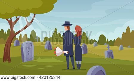 Death Services. Ritual Ceremony After Dying Loss Crying Persons Rip Grave Coffin Selection Exact Vec
