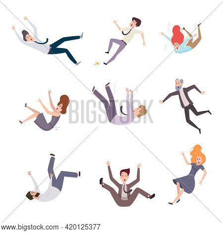 Falling Business Characters. Busy People Male And Female In Costumes Flying Fast Moving And Falling