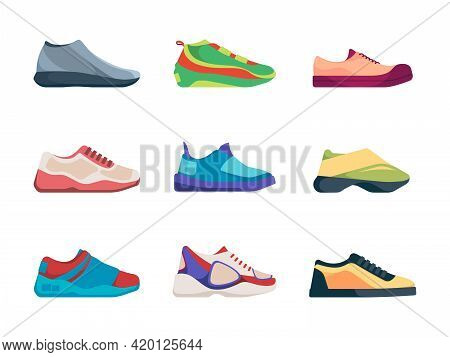 Sport Sneakers. Fashioned Shoes Footwear For Active Healthy Lifestyle Garish Vector Casual Sneakers
