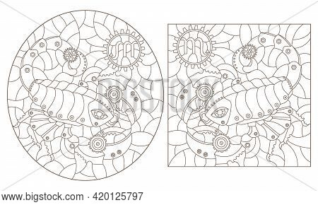 Set Of Contour Illustrations In The Style Of Stained Glass With Steam Punk Signs Of The Zodiac Scorp