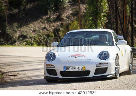 Leiria, Portugal - February 2: Joaquim Alves Drives A Porsche 997 During 2013 Amateur Winter Rally,
