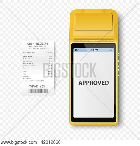 Vector Realistic Yellow 3d Payment Machine. Pos Terminal, Paper Receipt Closeup Isolated. Approved P