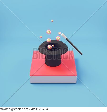 Cylindrical Hat With Magic Wand On Bright Blue Backgrpund. 3d Render