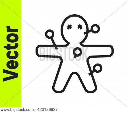 Black Line Voodoo Doll Icon Isolated On White Background. Happy Halloween Party. Vector