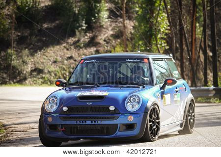 Leiria, Portugal - February 2: Joao Goncalves Drives A Mini Cooper S During 2013 Amateur Winter Rall
