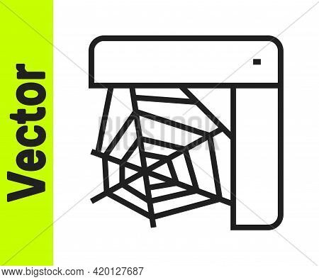 Black Line Spider Web Icon Isolated On White Background. Cobweb Sign. Happy Halloween Party. Vector