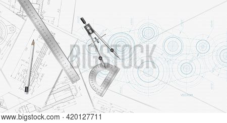 Engineering Technical Banner .technical Drawing Background.school Education.vector