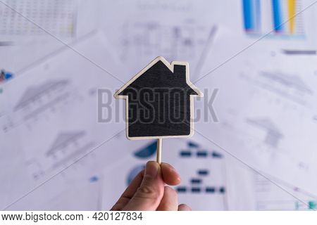 Top View. Copy Space On Wood House Label On The House Design Document,  Price Of House Paper, Statis