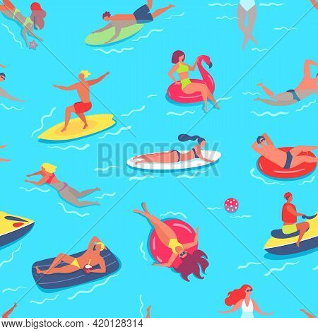 People Swimming Seamless Pattern. Friends Having Fun In Sea Or Ocean, Relaxing On Inflatable Circles