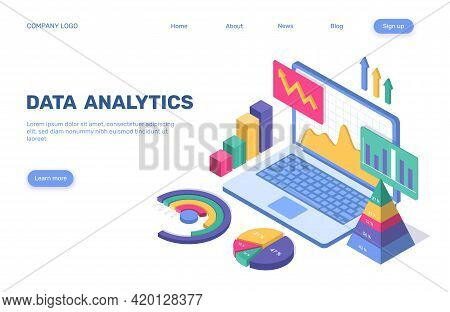 Data Analytics Landing Page. 3d Isometric Business Statistical Analysis Concept With Pie Chart, Grap