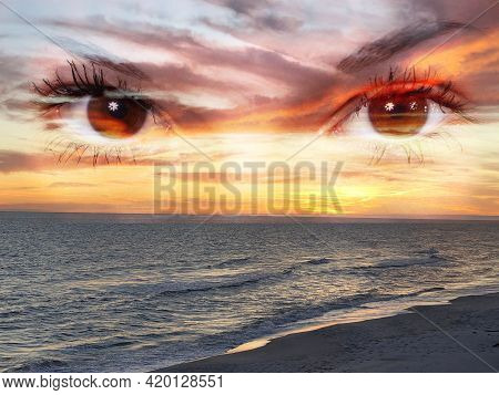 Double Exposed Photo Of A Pair Of Eyes And A Beach At Sunset.