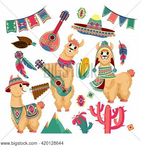 Cute Llamas. Funny Alpaca Animal In Mexican Clothes With Guitar, Mountains, Cactus And Festive Flag