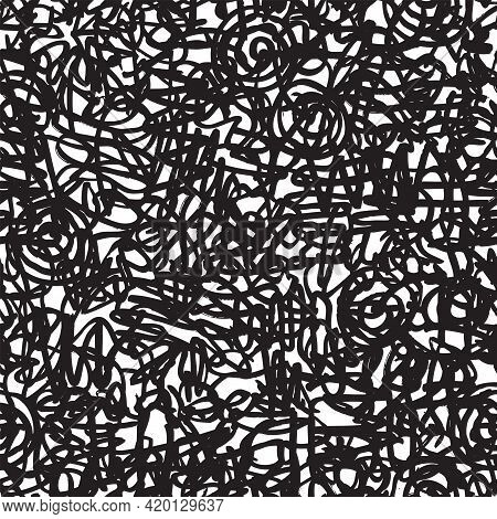 Seamless Pattern With Abstract Doodles. Chaotic Intersecting Lines Drawn With A Black Marker On A Li