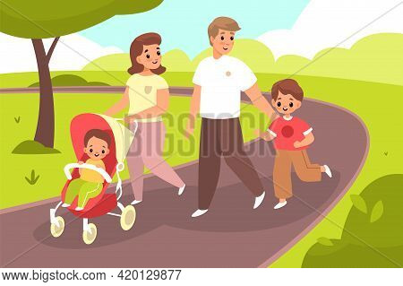 Walking With Baby. Happy Family Couple In Summer Park. Young Mom, Dad And Children Stroll Outdoor, P