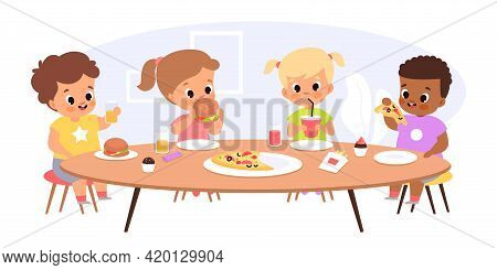 Children Eat Together. Happy Kids Sitting Common Table, Junior Students Have Lunch, Young Friends Ta