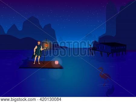 Man Standing On Raft In Middle Of Lake. Cartoon Vector Illustration. Man In Medieval Clothes Rafting