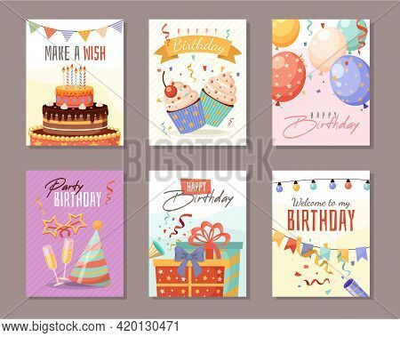 Birthday Party. Anniversary Celebration Greeting Posters, Kids Color Invitations With Cute Carnival