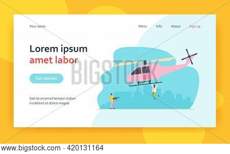 Two Criminals Stealing Helicopter. Transport, Weapon, Mask Flat Vector Illustration. Crime And Terro