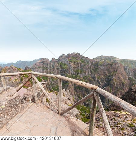 Pico Do Arieiro. Mountain Landscape With Wooden Railings On A Sunny Summer Day. It Is Third Highest