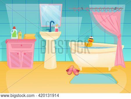 Colorful Bathroom Interior With Rubber Duck In Bath. Cartoon Vector Illustration. Pink Cabinet, Mirr
