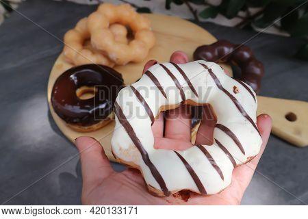Donut, Doughnut Or White Chocolate Donut For Serve