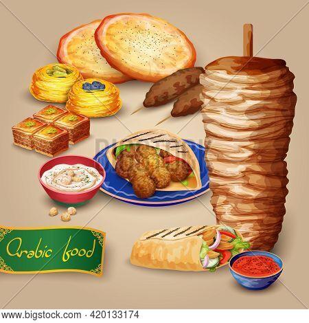 Arabic Food Set With Shawarma Kebab Hummus And Pita Cartoon Vector Illustration