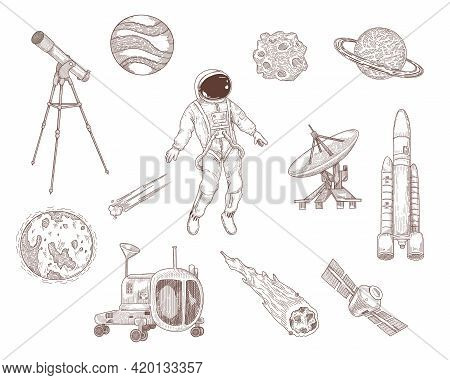 Space And Galaxy Hand Drawn Vector Illustration Collection. Vintage Sketch Of Astronaut, Moon, Satur