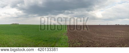 Panoramic Photo Of A Field Of Half Green Grass And Plowed Land, Against The Backdrop Of A Cloudy Sky