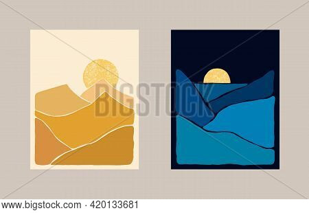Abstract Bohemian Art Landscape Ochre And Indigo Tones. Boho Style. Mountain View, Sun, Moon, Hills.