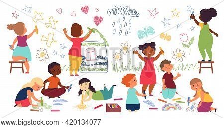 Children Drawing With Crayon. Kindergarten Child, Kids Paint On Wall And Floor. Playing Together, Ch