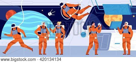 Spaceship Crew. Ship Station Interior, Spacecraft Cabin Dashboard And Engineer. Interstellar Woman A