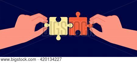 Business Cooperation Concept. Symbol Connecting, Puzzle Pieces In Two Hands. Partnership Collaborati