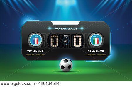 Soccer Football Stadium Spotlight And Scoreboard Background With Glitter Light Vector Illustration