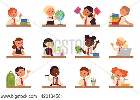 Kids Study At Desk. Kid Studying With Laptop, Boy Sit And Doing Homework. Young Student Write Exam,