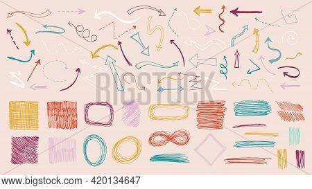 Colorful Doodle Arrows. Colored Arrow, Sketch Ink Textures Design. Grunge Pencil Elements, Bending T