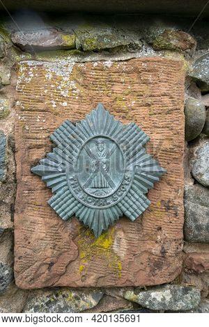 Gretna Green, Scotland, Uk, August 2020 - Emblem Of The Royal Scots Regiment, Uk