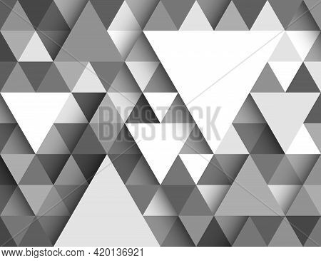 Gradient Triangle Shape, White, Gray, Light And Shadow. Abstract Background Pattern. Texture Design