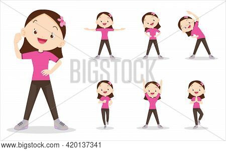 Bundle Set Of Girl On Exercise Various Actions,there Are Various Actions To Move The Body Healthy