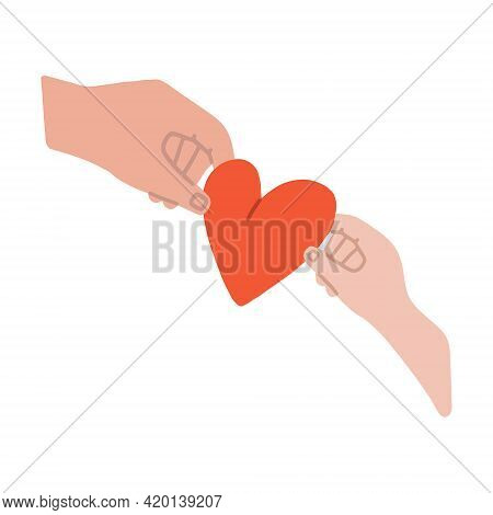 The Adult Imparts Kindness And Love To The Child. An Adult Hand Gives A Heart Sign To A Childs Hand.