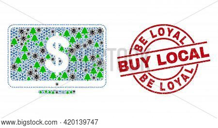 Winter Covid-2019 Combination Financial Display, And Distress Be Loyal Buy Local Red Round Stamp Sea