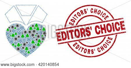 Winter Viral Composition Heart Award, And Distress Editors Choice Red Round Stamp. Collage Heart Awa