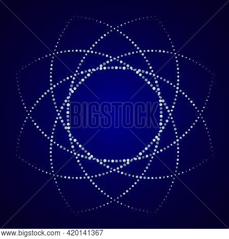 Dotted, Dots, Speckles Abstract Round Frame, Star, Circle. Spiral, Swirl, Twirl Element. Circular An