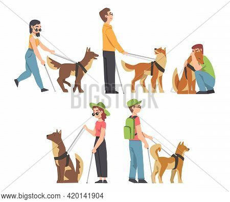 Blind People Walking With Seeing Eye Dogs On Leash Set, Trained Animal Helping Disabled Person, Reha