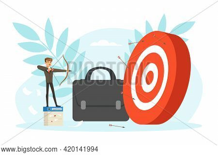 Unsuccessful Businessman Aiming To Target, Business Failure, Work Mistake, Bankruptcy Concept Vector